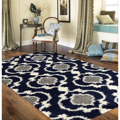 Strothers Cozy Shag Navy Area Rug Rug Size: Rectangle 33 x 5
