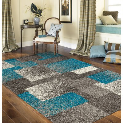 Railsback Contemporary Boxes Shag Gray Area Rug Rug Size: Rectangle 33 x 5