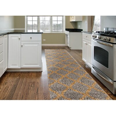 Strothers Shag Gray Area Rug Rug Size: Runner 2 x 72