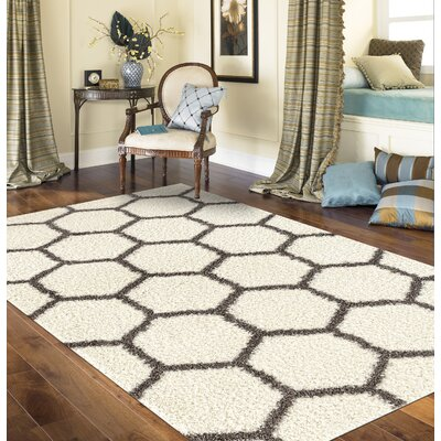 Klassen Geometric Honeycomb Shag Cream Area Rug Rug Size: Rectangle 33 x 5