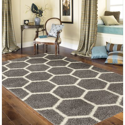 Klingensmith Honeycomb Shag Gray Area Rug Rug Size: Rectangle 53 x 73