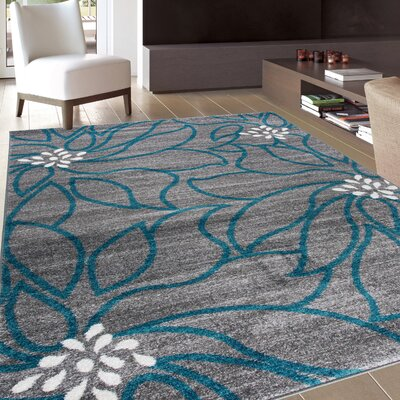 Beahm Modern Soft Blue/Gray Area Rug Rug Size: Rectangle 53 x 73