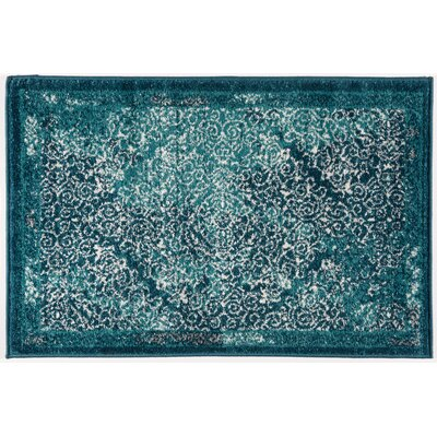 Sanderling Modern Distressed Blue Area Rug Rug Size: Rectangle 2' x 3'
