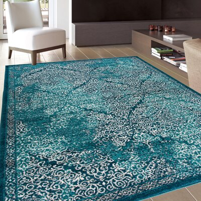 Sanderling Modern Distressed Blue Area Rug Rug Size: Rectangle 53 x 73
