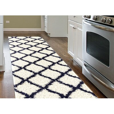 Strothers Shag Cream Area Rug Rug Size: Runner 2 x 72