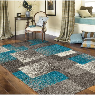Railsback Contemporary Boxes Shag Gray Area Rug Rug Size: Rectangle 710 x 10