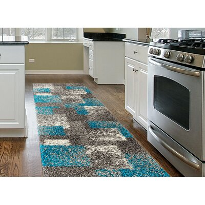 Railsback Contemporary Boxes Shag Gray Area Rug Rug Size: Runner 2 x 72