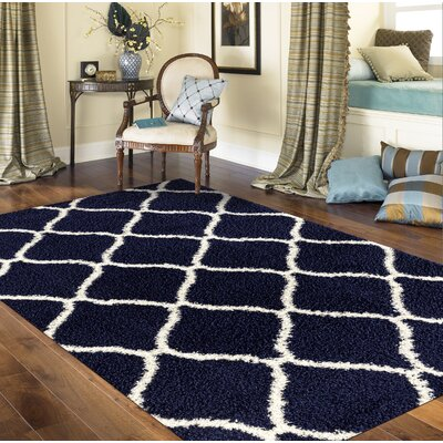 Strothers Shag Navy Area Rug Rug Size: Rectangle 53 x 73