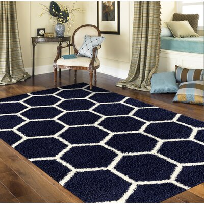 Knauss Honeycomb Shag Navy Area Rug Rug Size: Rectangle 33 x 5