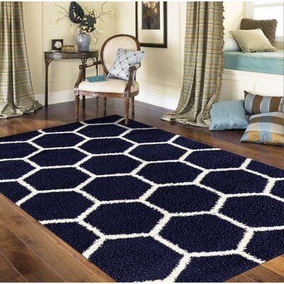 Knauss Honeycomb Shag Navy Area Rug Rug Size: Rectangle 710 x 10