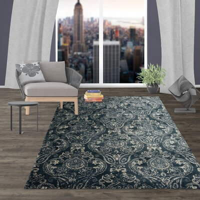 Milani Transitional Distressed Floral Design Dark Blue Area Rug Rug Size: Rectangle 5 x 7