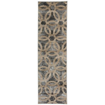 Dodsworth Contemporary Circle Design Beige Area Rug Rug Size: Rectangle 77 x 10