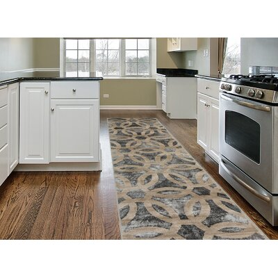 Dodsworth Contemporary Circle Design Beige Area Rug Rug Size: Runner 2 x 7