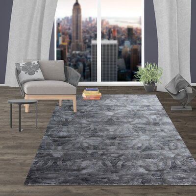 Dodsworth Contemporary Circle Design Dark Gray Area Rug Rug Size: Rectangle 77 x 10