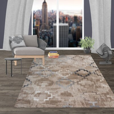 Lancaster Distressed Contemporary Design Beige Area Rug Rug Size: Rectangle 77 x 10
