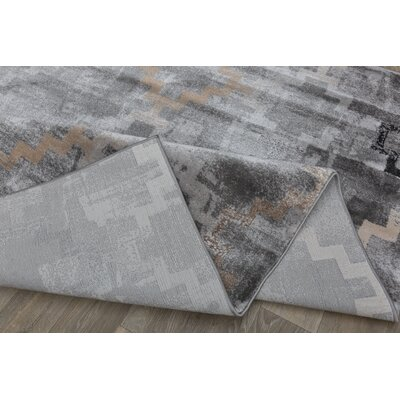 Lancaster Distressed Contemporary Design Gray Area Rug Rug Size: Rectangle 5 x 7