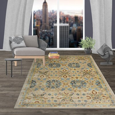Dunning Transitional Floral Design Beige Area Rug Rug Size: Rectangle 77 x 10
