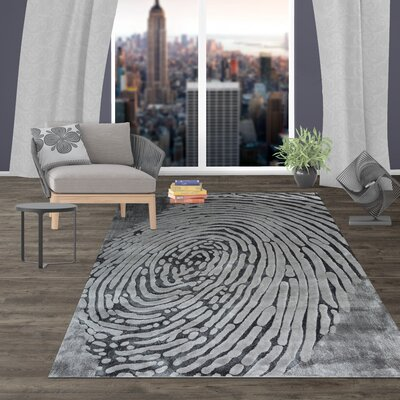 Diemer Contemporary Abstract Fingerprint Gray Area Rug Rug Size: Rectangle 5 x 7