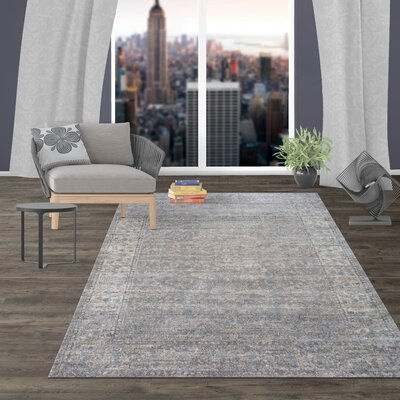 Milani Distressed Oriental Gray Area Rug Rug Size: Rectangle 5 x 7