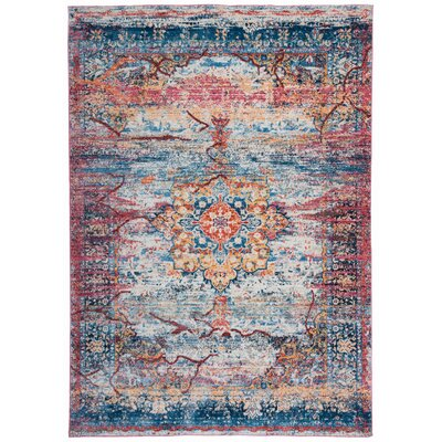 Nahlia Cream/Blue Area Rug Rug Size: Rectangle 76 x 95