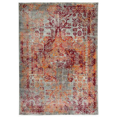 Nahlia Gray/Rust Area Rug Rug Size: Rectangle 53 x 74