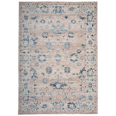 Myah Beige/Blue Area Rug Rug Size: Rectangle 53 x 74