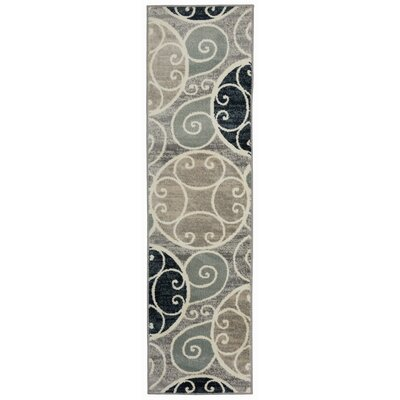 Casella Contemporary Scroll Design Gray/Navy Area Rug Rug Size: Runner 11 x 7