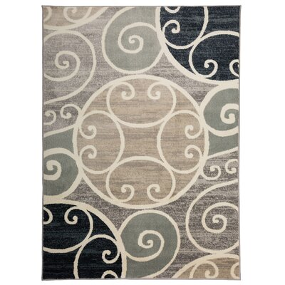 Casella Contemporary Scroll Design Gray/Navy Area Rug Rug Size: Rectangle 53 x 73