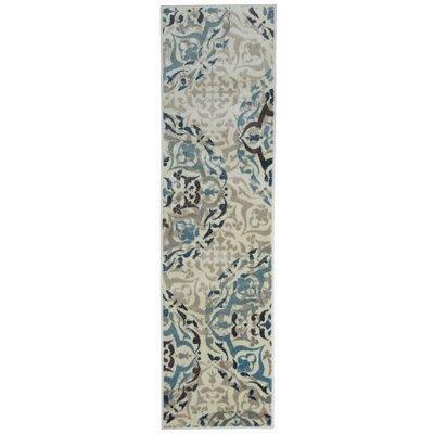 Cummingham Distressed Floral Design Cream/Blue Area Rug Rug Size: Runner 11 x 7
