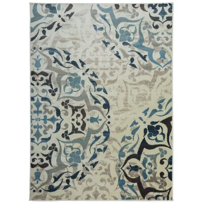 Cummingham Distressed Floral Design Cream/Blue Area Rug Rug Size: Rectangle 53 x 73