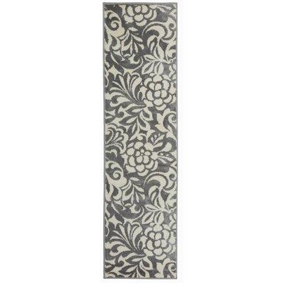 Cummingham Floral Design Gray Area Rug Rug Size: Runner 11 x 7