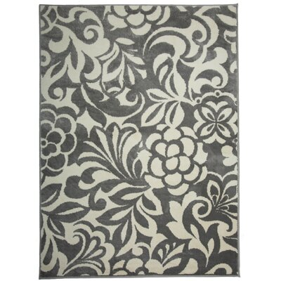 Cummingham Floral Design Gray Area Rug Rug Size: Rectangle 53 x 73
