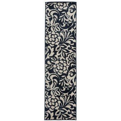 Cummingham Floral Design Navy Area Rug Rug Size: Runner 11 x 7