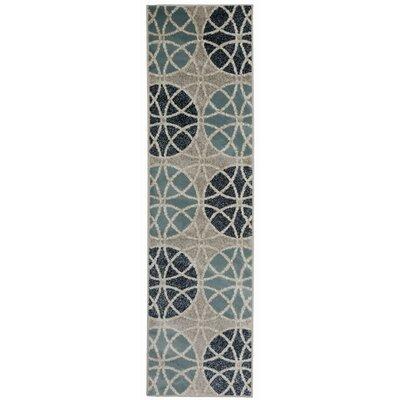 Casella Geometric Circles Gray/Blue Area Rug Rug Size: Runner 11 x 7