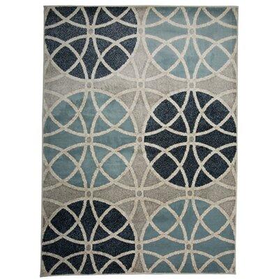 Casella Geometric Circles Gray/Blue Area Rug Rug Size: Rectangle 53 x 73