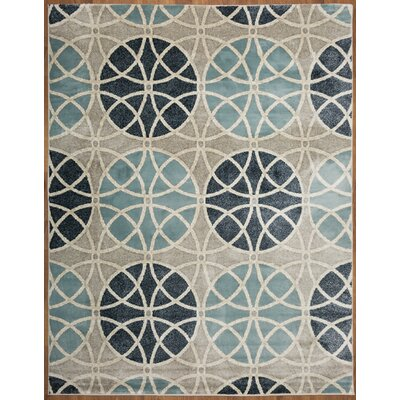 Casella Geometric Circles Gray/Blue Area Rug Rug Size: Rectangle 710 x 10