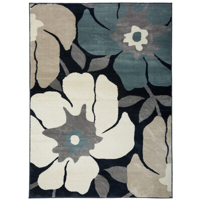 Olena Modern Design Navy/Beige Area Rug Rug Size: Rectangle 53 x 73