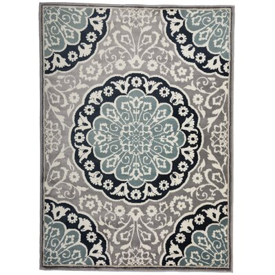 Cummingham Traditional Medallion Floral Gray/Blue Area Rug Rug Size: Rectangle 53 x 73