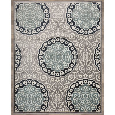 Cummingham Traditional Medallion Floral Gray/Blue Area Rug Rug Size: Rectangle 710 x 10
