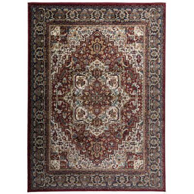 Dunstable Traditional Red/Blue Area Rug Rug Size: Rectangle 7'10