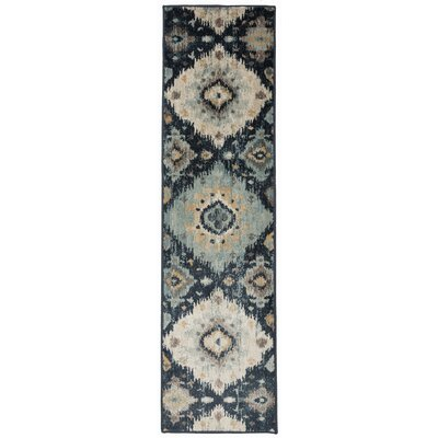Olena Distressed Design Navy Area Rug Rug Size: Runner 11 x 7