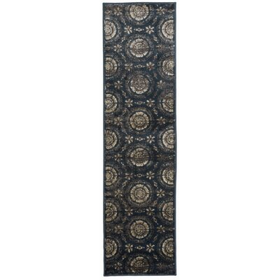 Alonza Distressed Design Navy/Beige Area Rug Rug Size: Runner 11 x 7