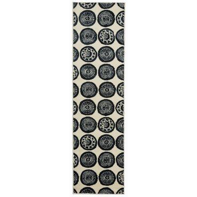 Olena Circles Design Navy Area Rug Rug Size: Runner 11 x 7