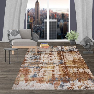 Shannen Distressed Contemporary Abstract Design Brown Area Rug Rug Size: Rectangle 77 x 10
