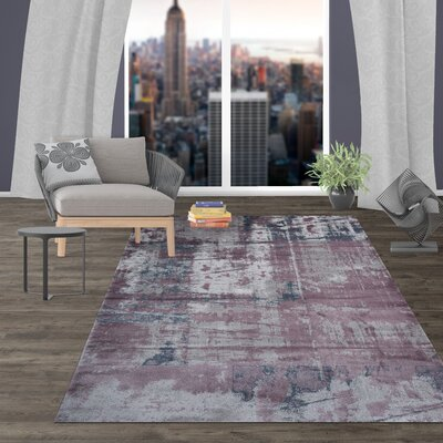 Shannen Distressed Contemporary Abstract Design Purple Area Rug Rug Size: Rectangle 77 x 10