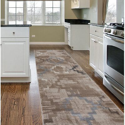 Lancaster Distressed Contemporary Design Beige Area Rug Rug Size: Runner 2 x 7