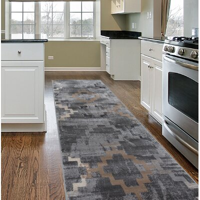 Lancaster Distressed Contemporary Design Gray Area Rug Rug Size: Runner 2 x 7