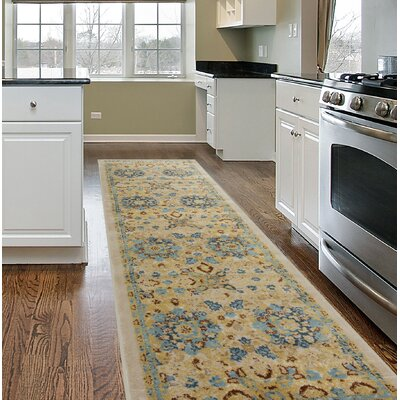 Dunning Transitional Floral Design Beige Area Rug Rug Size: Runner 2 x 7