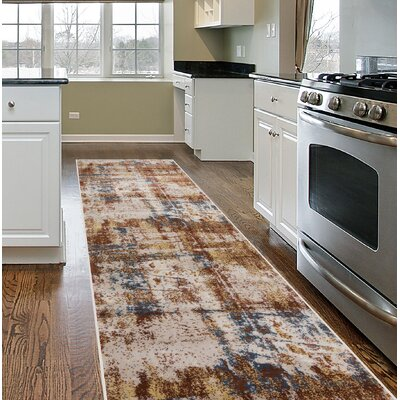 Shannen Distressed Contemporary Abstract Design Brown Area Rug Rug Size: Runner 2 x 7