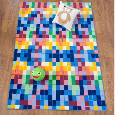Karyn Modern Bright Boxes Design Non-Slip Blue/Yellow Area Rug Rug Size: Rectangle 710 x 10